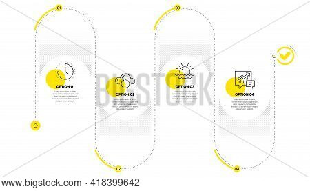 Cloud Sync, Sunset And Time Line Icons Set. Timeline Process Infograph. Accounting Sign. Document St