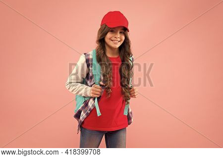 Back To School Is Here. Happy Child Carry Backpack Pink Background. Little Girl Back To Learning. Ba