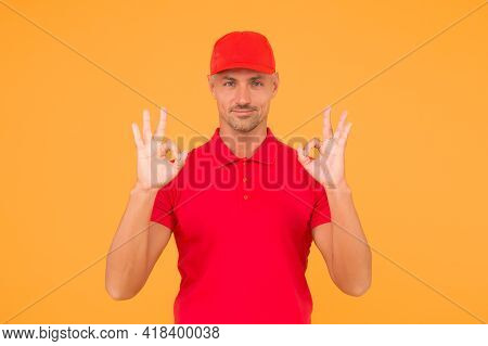 Everything Will Be Ok. Happy Guy Show Okay Signs. Guy With Ring Gestures Yellow Background. Handsome