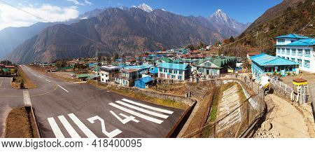 View Of Lukla Village And Lukla Airport, Khumbu Valley, Solukhumbu, Everest Area, Nepal Himalayas, L