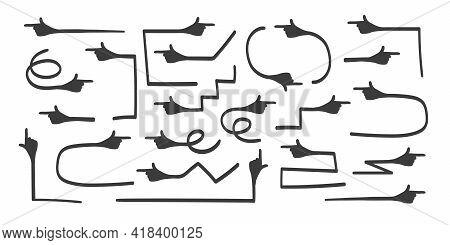 Arrows Icon. Hand Drawn Arrow Vector Set. Hand With Index Finger, Arrow Icon. Vector Illustration