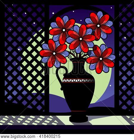 Stylized Still Life With Red Flowers. Bouquet In A Vase Against The Background Of The Moon. Vector I