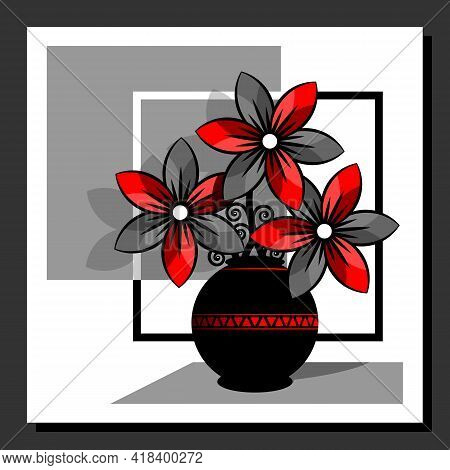 Stylized Still Life With Red Flowers In A Vase. Abstract Floral Composition. Wall Art Poster Design.