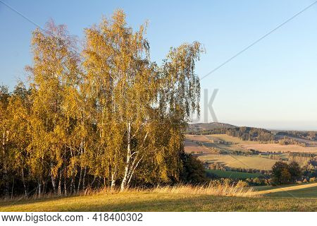 Autumn Panorama From Bohemian And Moravian Highland,  Czech Republic
