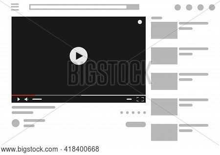 Video Player Web Page With Blank Screen. Website Videoplayer Design Page. Video Content Mockup, Vide