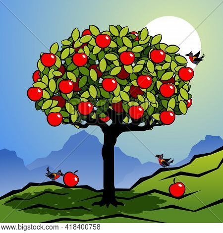 Stylized Tree With Green Foliage And Red Fruits. Decorative Landscape With A Tree And Birds. Vector