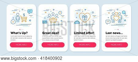 Set Of Holidays Icons, Such As Buyer, Buyers, Romantic Gift Symbols. Mobile Screen App Banners. Love