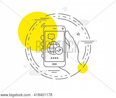 World Statistics Line Icon. Mobile Phone Vector Button. Report Chart Or Sales Growth Sign. Data Anal