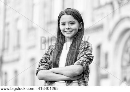 Boosting Her Girls Confidence. Confident Child Keep Arms Crossed Outdoors. Confident Look Of Fashion