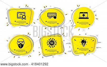 5g Technology, Certificate And Medical Help Icons Simple Set. Yellow Speech Bubbles With Dotwork Eff