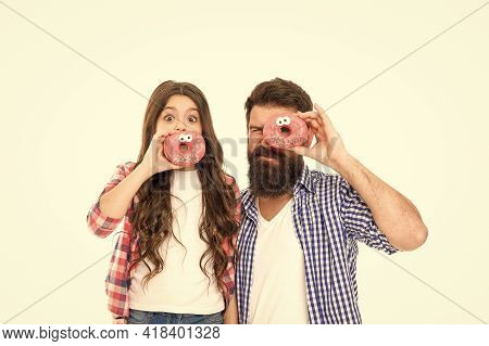 Sweet World. Sweet Tooth Family Isolated On White. Father And Daughter Eat Fun Donuts. Hipster And S