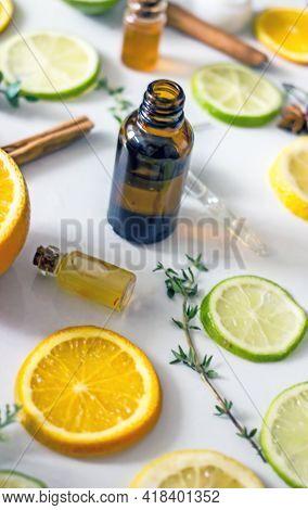 Natural Citrus Cosmetics With Vitamin C, Cosmetic Bottles, Citrus Circles, Lime, Orange, Lemon, Top
