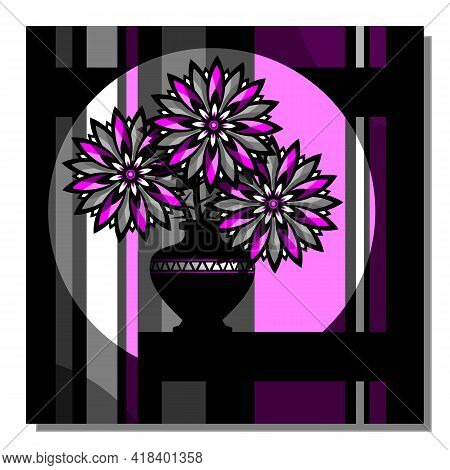 Stylized Still Life With Purple Flowers In A Vase. Abstract Composition With Flowers Of Thistle. Dec