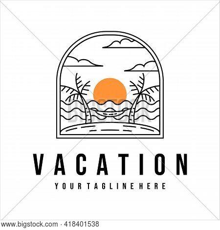 Vacation Or Beach Logo Line Art Vector Illustration Template Design. Tropical Island With Hammock On