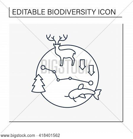 Biodiversity Loss Line Icon.losing Different Kinds Flora, Fauna.disappearance Species Can Disrupt Ec