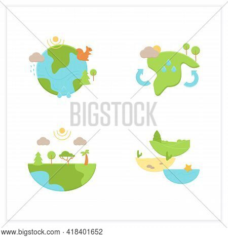Biodiversity Flat Icons Set.reduce Air Pollution. Fighting Global Warming. Saving Flora And Fauna.sp