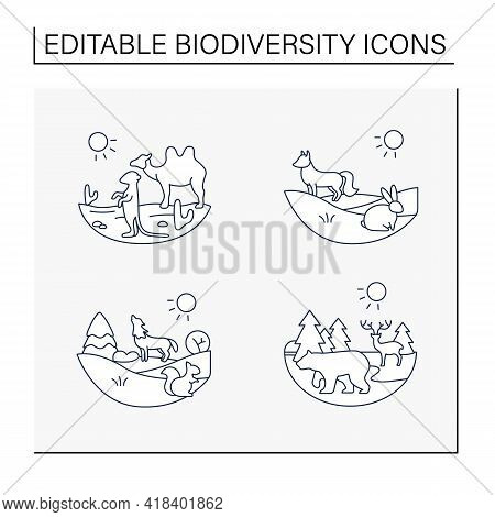 Biodiversity Line Icons Set. Consists Of Desert, Grassland, Temperate Forest, Taiga Forest Ecosystem