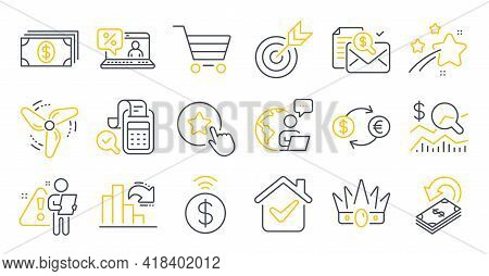 Set Of Finance Icons, Such As Banking, Loyalty Star, Check Investment Symbols. Cashback, Market Sale