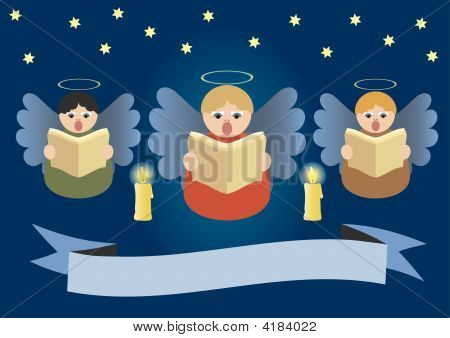 Angels Singing On Christmas Stardust Sky.Eps