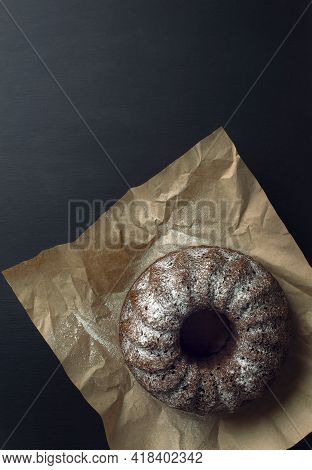 Chocolate  Bakery. Baking At Home, Home Bakery.  Tasty Mouth-watering Homemade Cake On Wooden Backgr