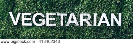 Word Vegetarian On Moss, Green Grass Background. Top View. Copy Space. Banner. Biophilia Concept. Na
