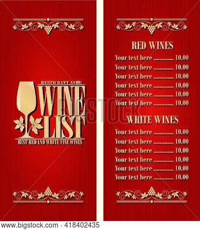Best Red And White Fine Wines. Vintage Wine List Long Menu. Red Background. Vector Illustration