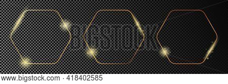 Set Of Three Gold Glowing Rounded Hexagon Frames Isolated On Dark Transparent Background. Shiny Fram