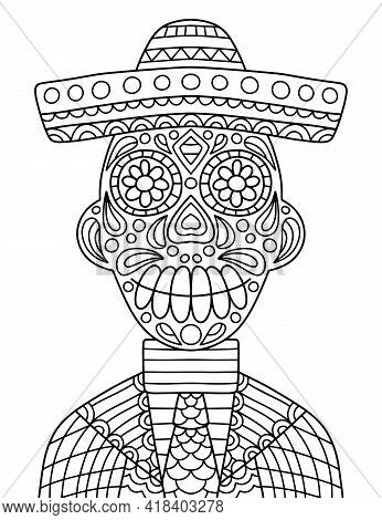 Smiling Skeleton With Hat And Mariachi Costume Zen Art Vector Illustration. Happy Day Of The Dead Co