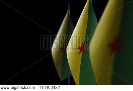 Small National Flags Of The French Guiana On A Black Background