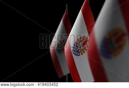 Small National Flags Of The French Polynesia On A Black Background