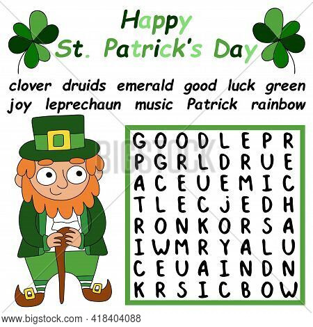 Educational Irish-themed Colorful Word Search Puzzle For Kids Stock Vector Illustration. Funny Carto