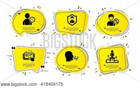 Time Management, Security Agency And Technical Documentation Icons Simple Set. Yellow Speech Bubbles