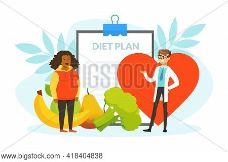 Healthy Male Nutritionist Doctor Consulting Overweight Woman, Diet Plan, Nutrition And Dieting Carto