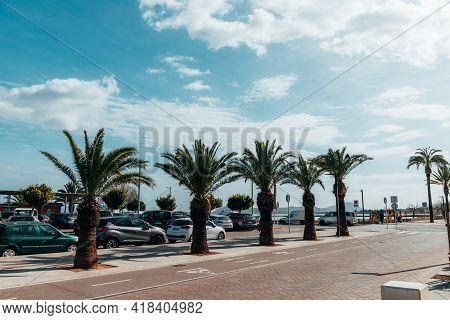 Alcudia, Spain - 10 March, 2020 Beautiful City Port In The Spanish Island Of Mallorca Or Palma De Ma