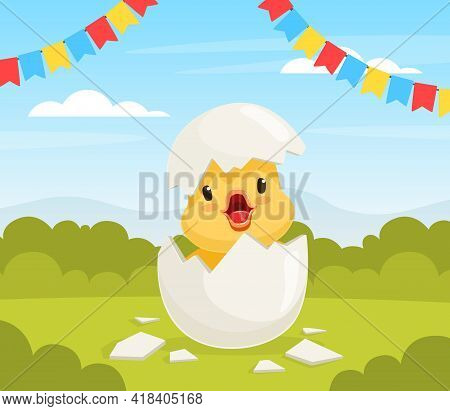 Cute Duckling Baby Hatching From Egg On Beautiful Summer Landscape Vector Illustration