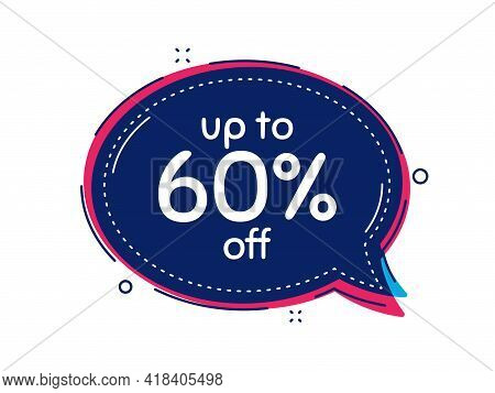 Up To 60 Percent Off Sale. Thought Bubble Vector Banner. Discount Offer Price Sign. Special Offer Sy