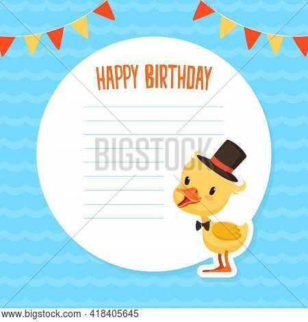 Banner With Cute Yellow Baby Duckling And Space For Text, Poster, Invitation Card, Notebook Page Des