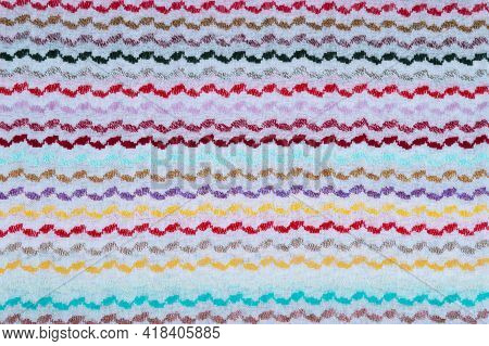 Multicolored Bright Background With Embroidery On Fabric. Beautiful Decorative Stitching, Colorful H