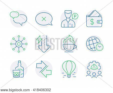 Business Icons Set. Included Icon As Chat Message, Coffee Cup, Synchronize Signs. Energy Drops, Reje