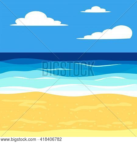 Beach With Palm Trees And Sea, Ocean, Vacation And Tourism Concept. Summer, Vacation