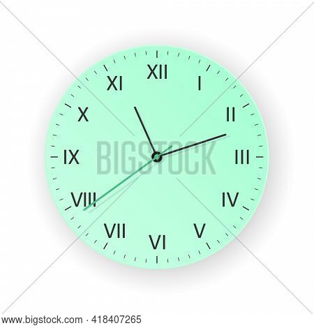 Vector Mint Clock With Light Shadow, Show What Time Is It