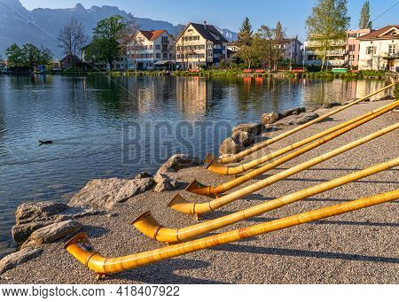 The Musical Instrument Alphorn Or Alpenhorn Or Alpine Horn Is A Labrophone, Consisting Of A Straight