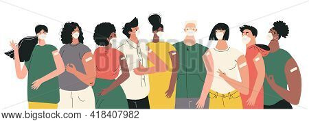 Diverse People After Vaccination Concept Vaccine Injection In Arm, Shoulder. Set Of Multiracial Char