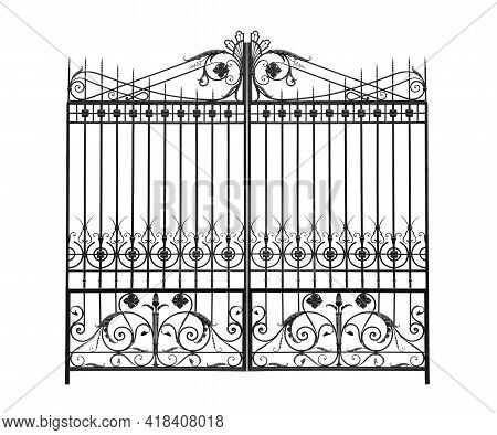 Openwork Wrought Iron Gates In The Old Style.  Isolated Over White Background.