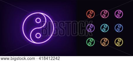 Neon Yin Yang Icon. Glowing Neon Balance Sign, Outline Yin Yang Tao Pictogram And Silhouette In Vivi