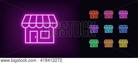 Neon Small Shop Icon. Glowing Neon Store Sign, Outline Storefront Pictogram In Vivid Color. Online S