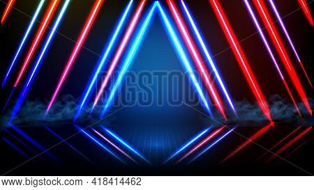 Abstract Futuristic Background Of Empty Stage Arena Stadium Spotlgiht Stage Background