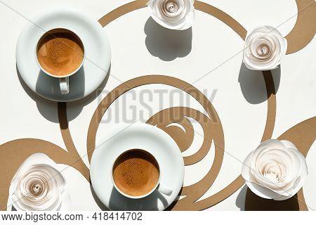 Espresso Coffee Cups, Fibonacci Sequence Circles. Espresso, Tasty Perfection. Golden Ratio Concept,