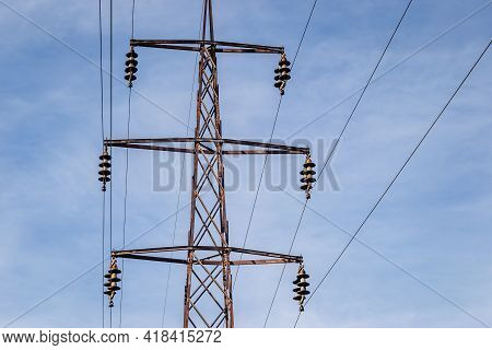 High-voltage Power Lines. Electricity Distribution Station. High Voltage Electric Transmission Tower