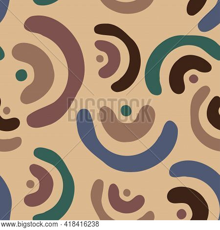 Vector Seamless Colorful Pattern With Cute Little Hand-drawn Rainbow Arcs In Brown Colors